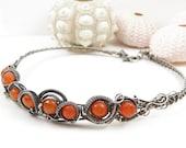 Luxury collar , wire wrapped jewelry , orange carnelian gemstone , silver necklace
