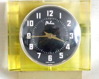 Vintage Russian Clock - Working - Desk Mantle Table Clock  Molnija - Yellow and Black - Plexiglass - Midcentury - 1970s Soviet Union / USSR