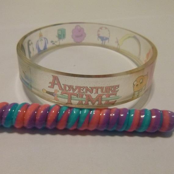 ADVENTURE TIME Bangle Bracelet Clear Resin Finn, Jake, Ice King, Princess Bubblegum, LSP