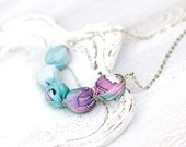 Fabric necklace Mint green purple fantasy SALE