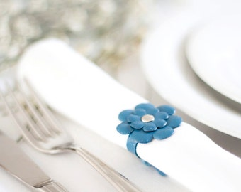Blue leather flower napkin rings Party table decor - set of 6