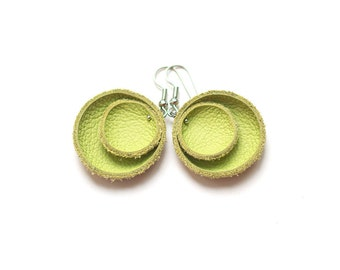 Yellow green leather circle Earrings SALE