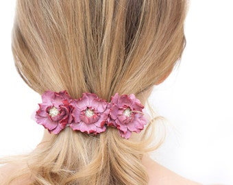 Leather flowers barrette, flower hair barrette, pink barrette, french barrette, wedding barrette, Rose quartz hair clip, Hair Accessories,