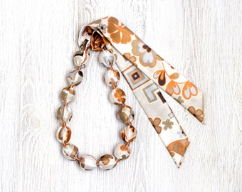 Brown and beige Fabric bead necklace SALE