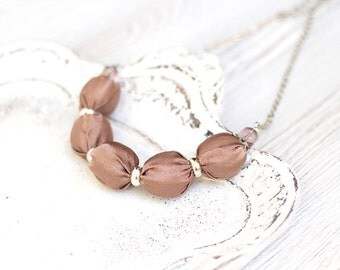 Light brown fabric bead necklace Bridesmaid necklace textile