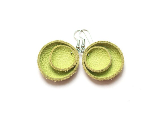 Yellow green leather circle Earrings SALE