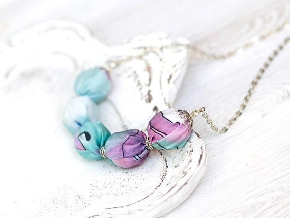 Fabric necklace Mint green purple fantasy SALE