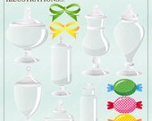 Apothecary Jars Gray Cute Digital Clipart for Invitations, Card Design, Scrapbooking, and Web Design