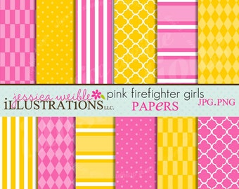 Pink Firefighter Girls Cute Digital Papers Backgrounds for Invitations, Card Design, Scrapbooking, and Web Design, Pink and Yellow Papers