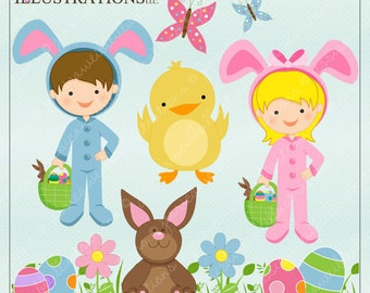 Bunny Suit Cute Digital Clipart for Card Design, Scrapbooking, and Web Design