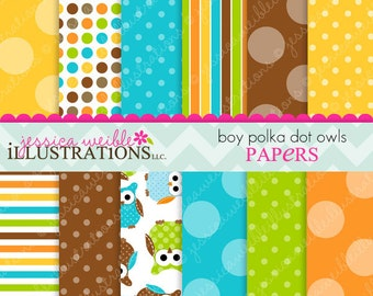 Boy Polka Dot Owls Cute Digital Papers Backgrounds for Invitations, Card Design, Scrapbooking, and Web Design
