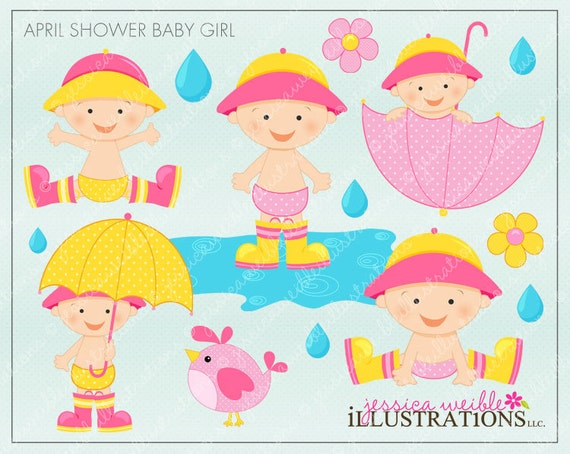 April Shower Baby Girl Cute Digital Clipart for Invitations