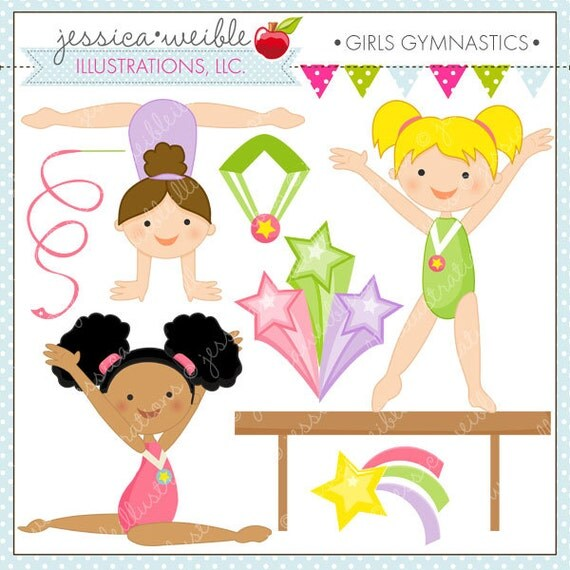 Girls Gymnastics Cute Digital Clipart For Commercial And
