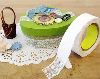 Tulle Lace Adhesive Fabric Tape - 28.White (0.8in)