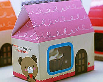 5 Mini House Paper Gift Boxs - Pink (2.5 x 1.6 x 2.5in)