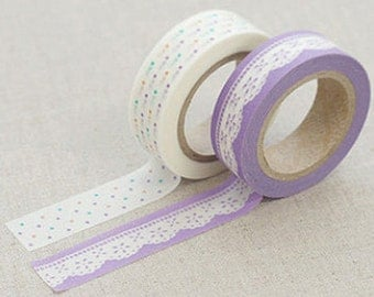 2 Set - Lily Lilac lace dot Adhesive Masking Tapes (0.6in)