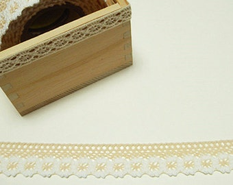 Flower Lace Adhesive Fabric Tape - Apricot (1in)