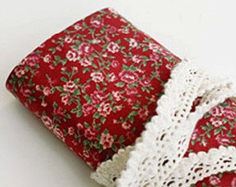 Antique Flower Reform Fabric Sticker - Red (A4)