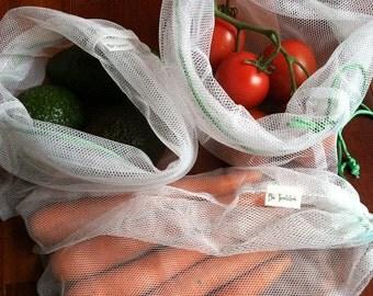 Reusable Mesh Market Produce Bags - Bag Set of 3