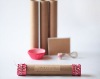 VALENTINES  Wrapping KIT-  Kraft Tubes- Cupcake Liners- Hemp- Washi Tape-Kraft Stickers (Pure Lovin or Custom Text)