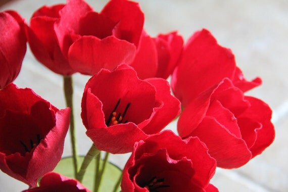 tulips red crepe paper flowers valentine