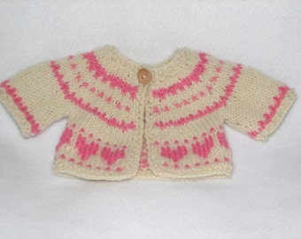 Waldorf Doll Sweater Cardigan in Fair Isle Pattern - MADE TO ORDER - Choose your own colors - 10 inch to 18 inch doll