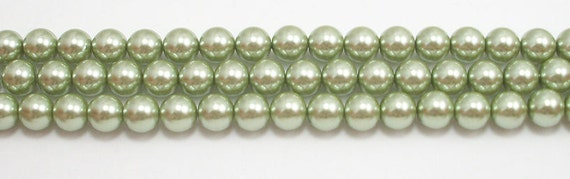 8mm Light Sage Glass Pearls - 15.5 inch strand of 8mm glass pearls #G815