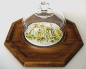 Octagon Teak Wood Serving Tray with Glass Dome