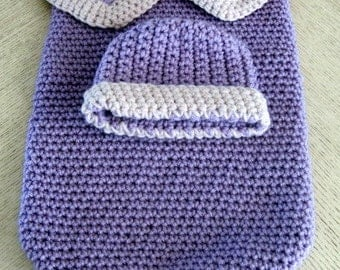 Crocheted Baby Bunting/Cocoon and Beanie