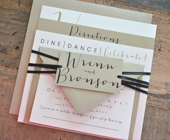square bronson wedding invitation suite with ribbon tie and, Wedding invitations