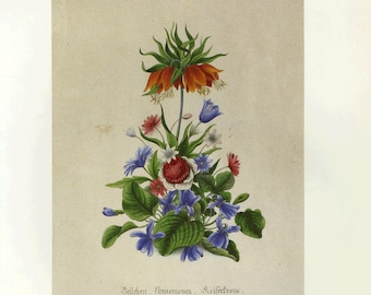 CLEARANCE Vintage Botanical Book Print by Prestele of Bouquet