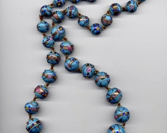 Venetian  Murano Glass Wedding Cake Decorated Glass Bead Necklace