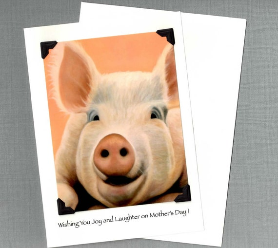 Mother's Day Card - Pig Art Mother's Day Card - Big Pig Card - Proceeds Benefit Animal Charity