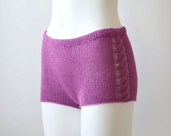 Knitted summer shorts-bloomers-panties in purple