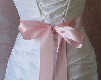 Double Face Light Pink Satin Ribbon, 1.5 Inch Wide, Ribbon Sash  Baby Pink, Bridal Sash, Wedding Belt, 4 Yards