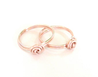 One Rose Gold Mother Daughter Rings - ONE RING-  Rose Gold Colored Wire Ring - The Original