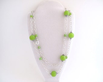 Long Lime Green Necklace