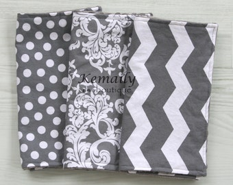 3 Piece Grey Chevron Minky Burp Cloth Set for Baby - Baby Shower - Gift - Gender Neutral - Feeding - Nursing - Essentials - New Mom - Travel