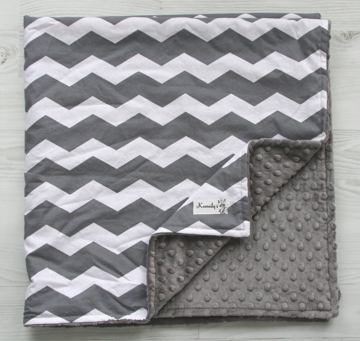 Charcoal Grey Amp White Lovey Minky Blanket Chevron Newborn