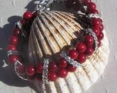 "Natural Red Coral Gemstone Bracelet ""Poppy"""
