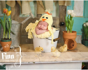 Knit Baby Bird Hat, Duck Chick Beanie, Newborn Infant Cap, All Sizes NB- Adult, Great Photo Prop