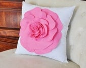 Decorative Bright Pink Rose on White Throw Pillow 14 x 14