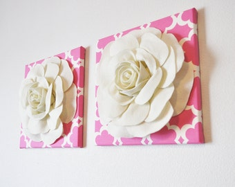 "TWO Wall Flowers -Ivory Roses on Pink and Ivory Tarika Print 12 x12"" Canvases Wall Art- Baby Nursery Wall Decor-"