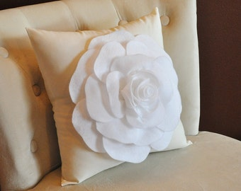 Decorative Pillows, Couch Pillow, White Rose on Cream Pillow 16x16