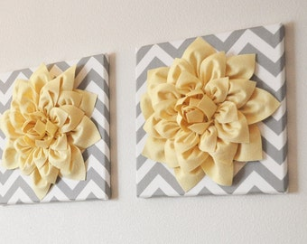 "TWO Wall Flowers -Light Yellow Dahlia on Gray and White Chevron 12 x12"" Canvas Wall Art- 3D Felt Flower"