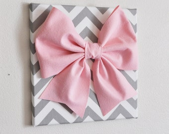 "Large Light Pink Bow on Gray and White Chevron 12 x12"" Canvas Wall Art- Baby Nursery Wall Decor- Zig Zag"