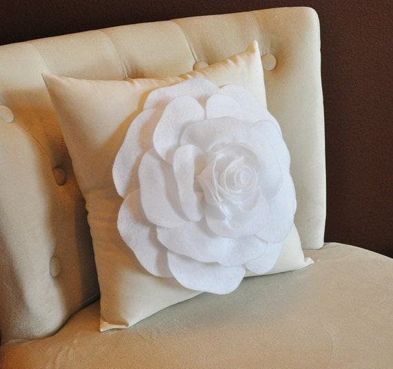Rose Pillow, Home Decor, White Flower on Cream Pillow, Housewarming Gift, Nursery Throw Pillow