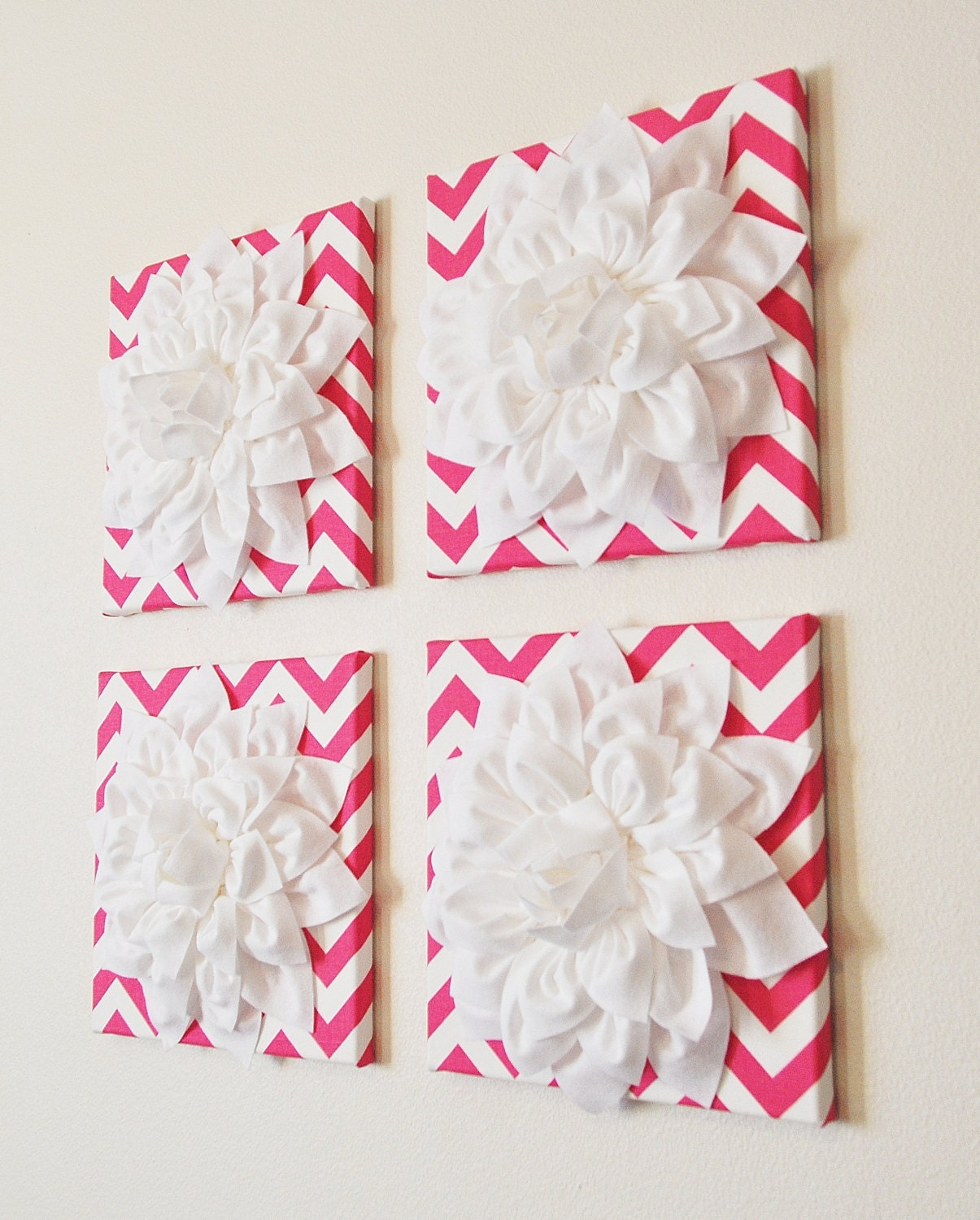 wall decor set of four white dahlias on hot pink and white. Black Bedroom Furniture Sets. Home Design Ideas