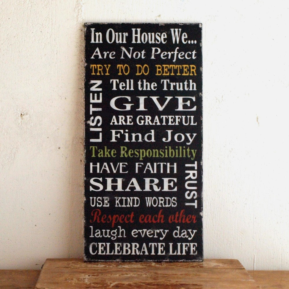 Family Rules Wood Sign Black Version With Yellow By