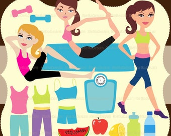 Girl Healthy Life Style Clipart Set